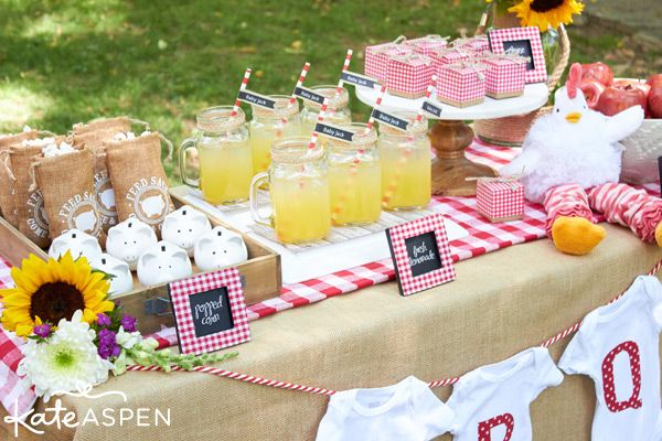 Red gingham and burlap accents with pops of bright yellow sunflowers are a cute and casual color scheme for this summer baby shower theme.
