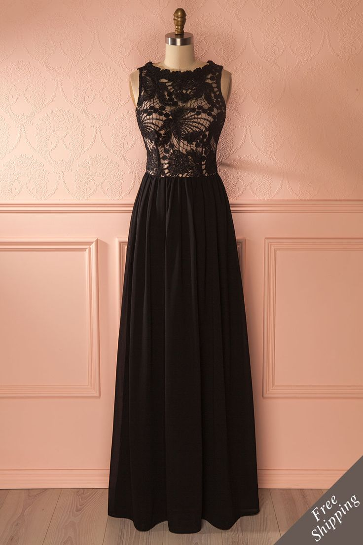 Longue robe de soirée noire avec dentelle - Black lace maxi evening dress
