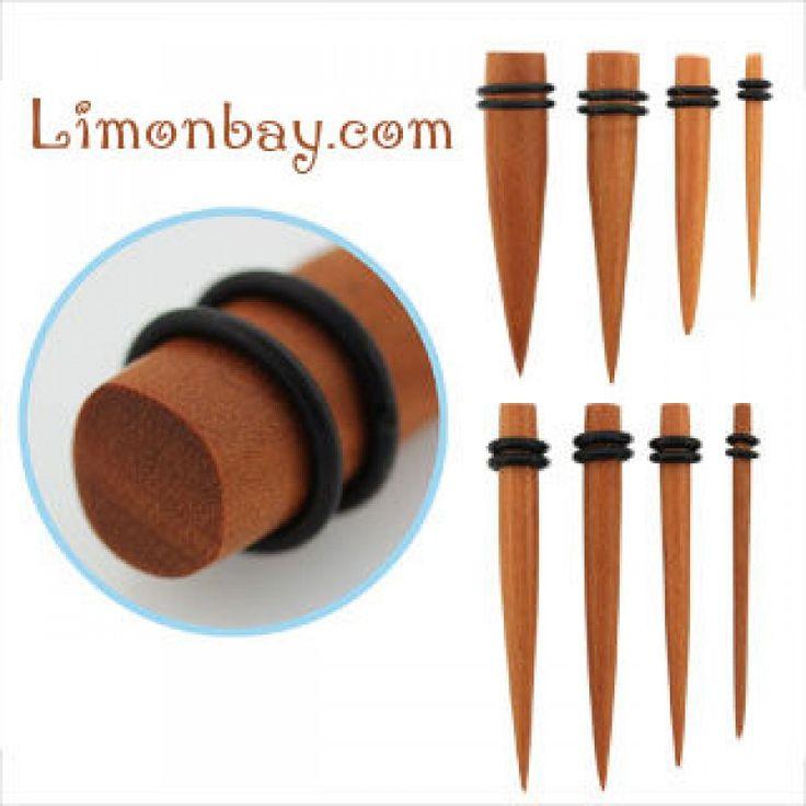 Taper, dilatador de madera de Sawo. Varias medidas. Aros de goma para cómodo ajuste. Ideal para usar en tu dilatación de lóbulo, en tu piercing , 2.87