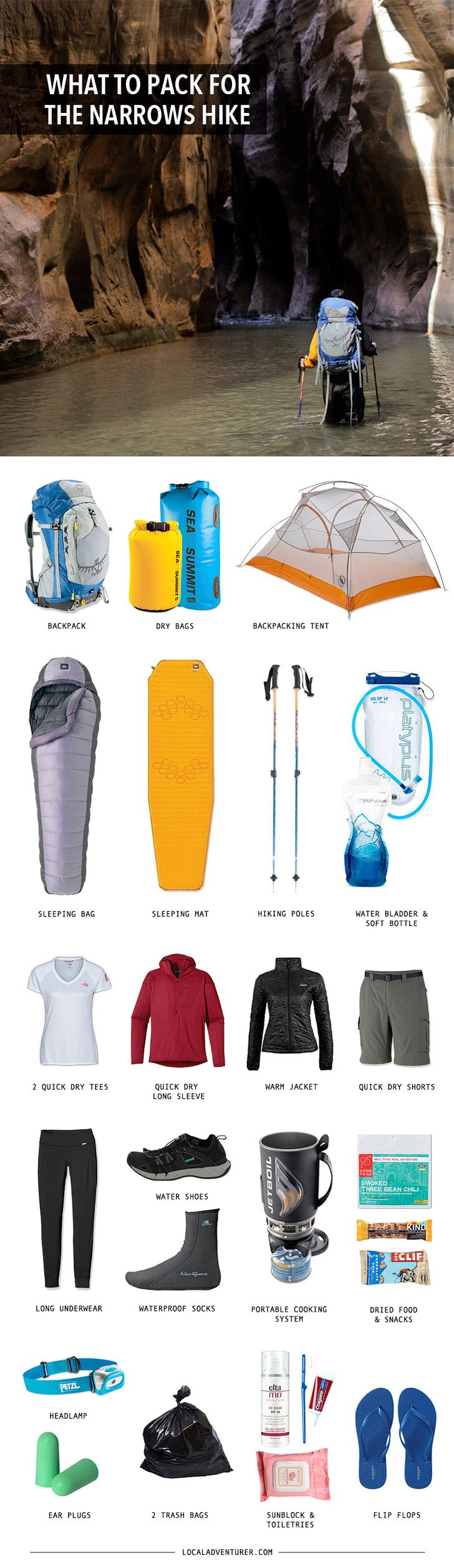 Backpacking Gear List for the Zion Narrows Hike Top Down. This list and tips are amazing!!!!
