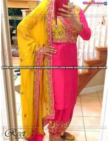 Give yourself a stylish & punjabi look with this Modish Magenta And Yellow Punjabi Embroidered Suit From Reet Glamour. Embellished with Embroidery work and lace work. Available with matching bottom & dupatta. It will make you noticable in special gathering. You can design this suit in any color combination or in any fabric. Just whatsapp us for more details. For more details whatsapp us: +919915178418