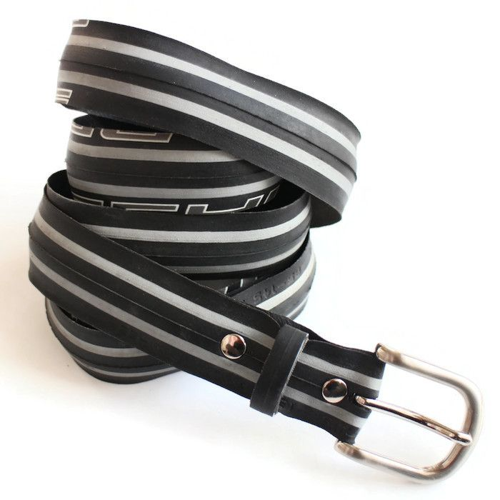 Upcycled striped grey and black tyre belt
