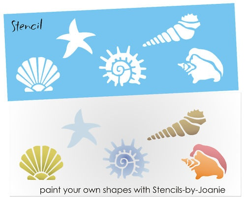STENCIL Seashell Beach Sand Starfish Conch Snail Fan Cone Shell shapes Nautical | eBay