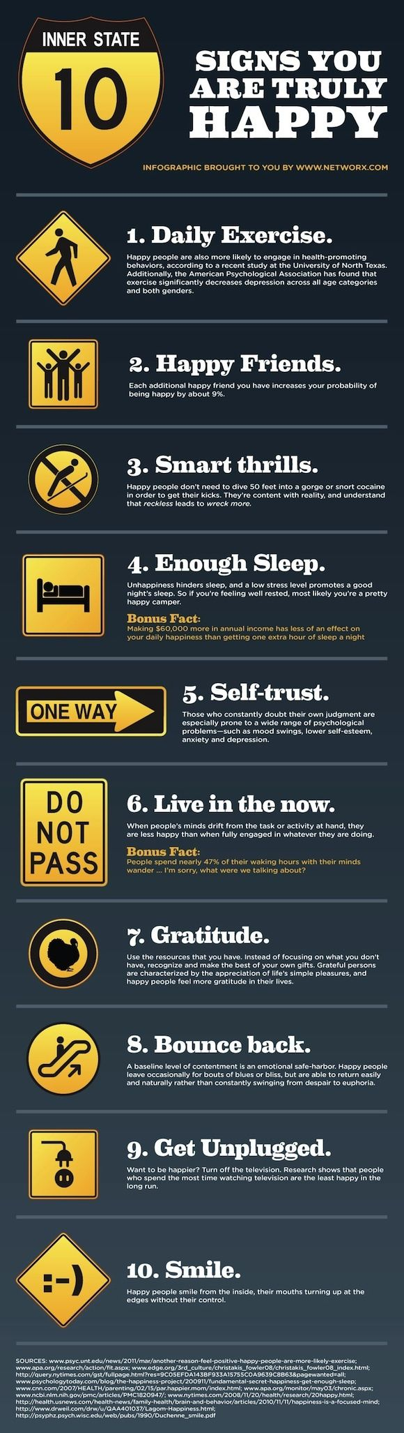 Top 10 signs your happy.. infographic... very true..