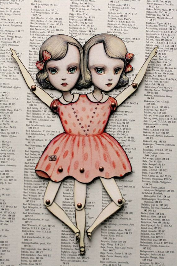 You Are So Special - The Conjoined Twins -Fully assembled articulated paper doll by Mab Graves