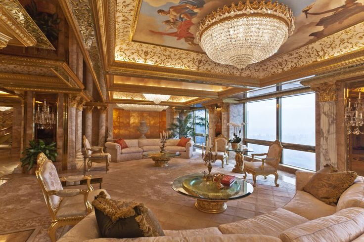 Donald Trump's opulent Manhattan Penthouse. Decorated in 24K gold & marble, was designed by Angelo Donghis in Louis XIV style