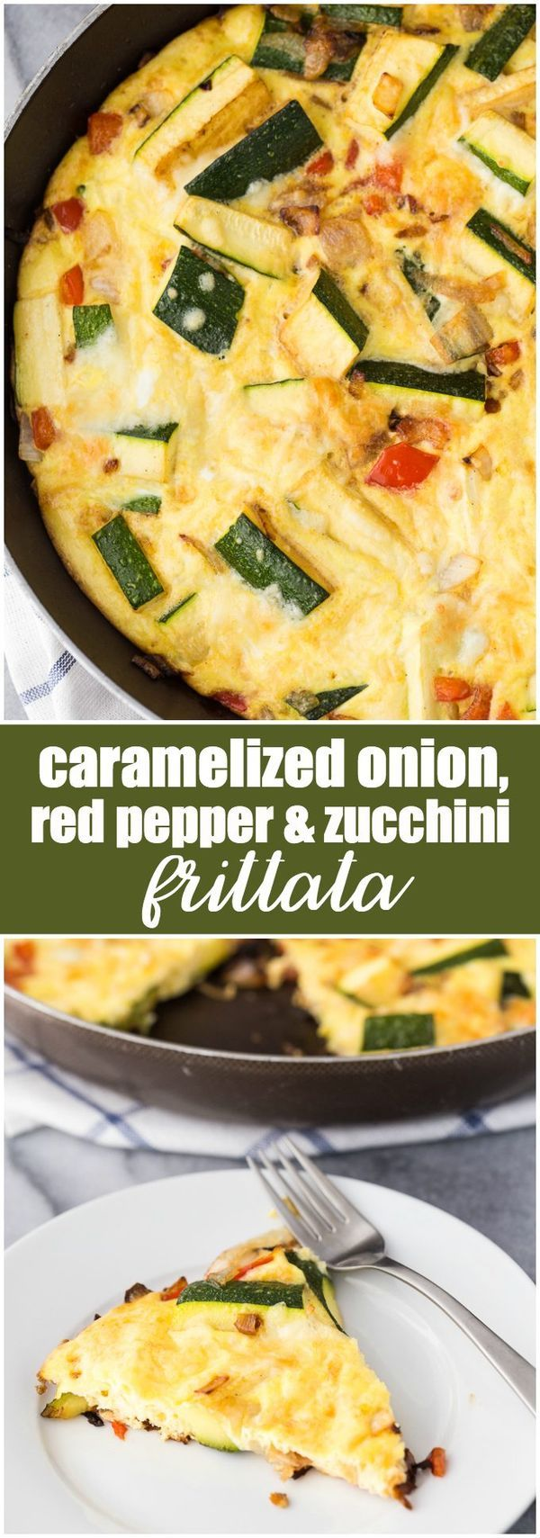 Caramelized Onion, Red Pepper & Zucchini Frittata - A delicious and easy low carb breakfast!