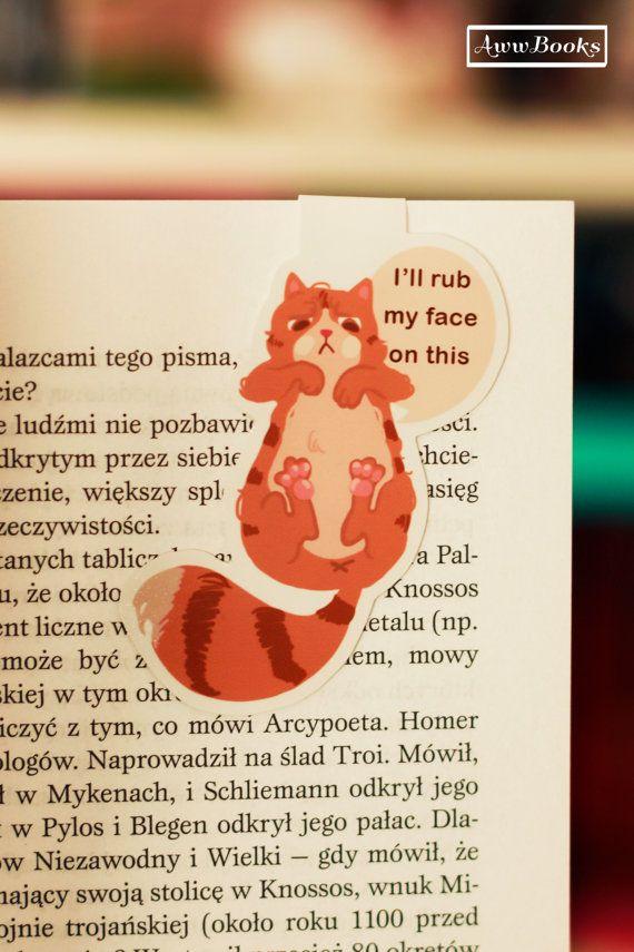 Marcapáginas gato gruñón por AwwBooks en Etsy