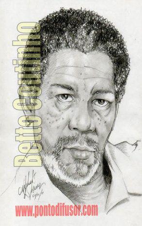 Morgan Freeman - lápis 6B