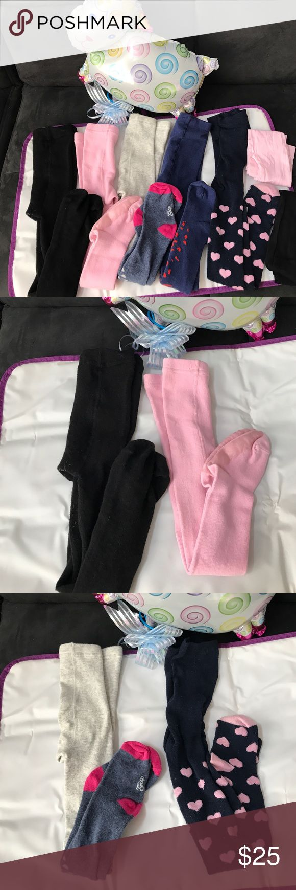 Toddler tights First two pairs (black and pink) from H&M, 3rd and 4th ones are from baby Gap, the 5th one is from Marc Jacob. Other two tights are free with purchase. Total original price cost $48, most of them are brand new never worn, only the heart shapes one worn few times. All washed! Marc Jacobs Accessories Socks & Tights