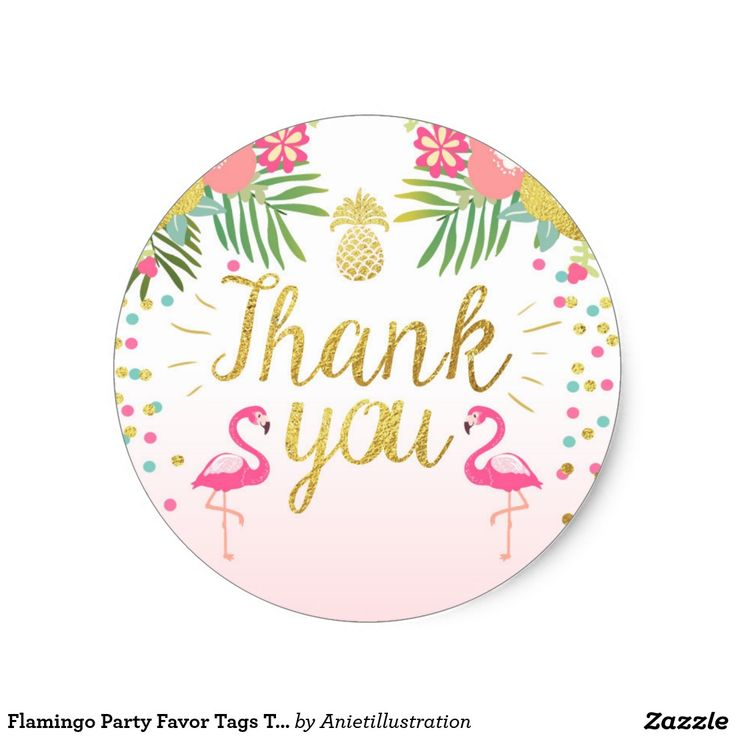 Flamingo Party Favor Tags Tropical Thank You Card Classic Round Sticker