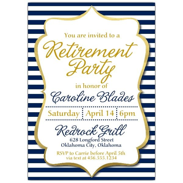 Amazing Navy+Stripes+Retirement+Party+Invitations