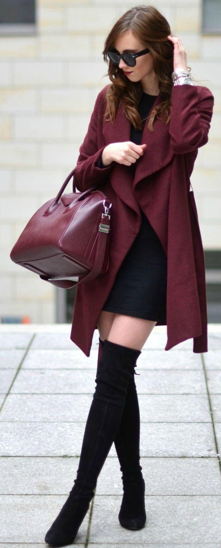Barbora Ondrackova + thigh high boots + little black dress + matching burgundy coat + bag Coat: Medicine, Dress: Zara, Boots: Stuart Weitzman, Bag: Givenchy.