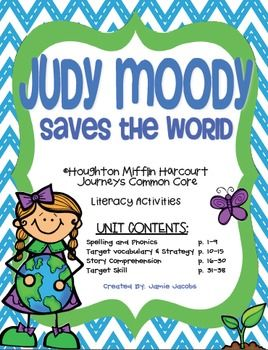 """Here are 38 supplemental activities for the Houghton Mifflin Harcourt Journeys reading curriculum that are based on the focus skills for """"Judy Moody Saves the World"""". These resources can be used to guide your whole or small group instruction. They can also be used as literacy centers, independent work stations, homework, and/or assessments.  This unit has been aligned to several common core standards!  ..."""