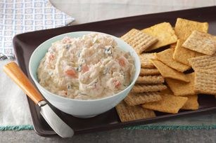 Zesty Shrimp Spread: Chopped cooked shrimp, Parmesan cheese, parsley and garlic are blended with cream cheese and mayo... Mmmm!