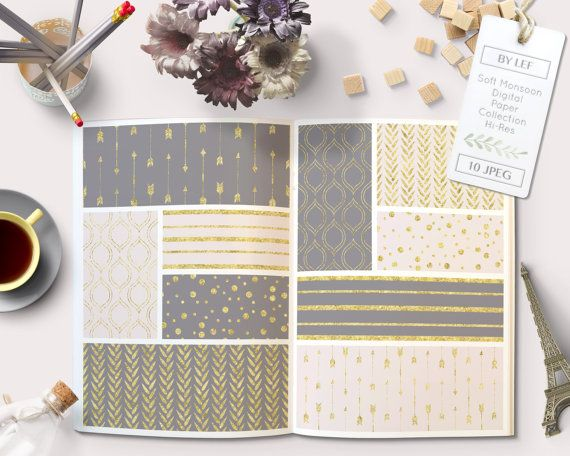 By Lef graphics on Etsy Gray pink and gold Digital papers pantone spring 2015 gold glitter with arrows stripes dots confetti or digital scrapbooking cards invites by ByLef