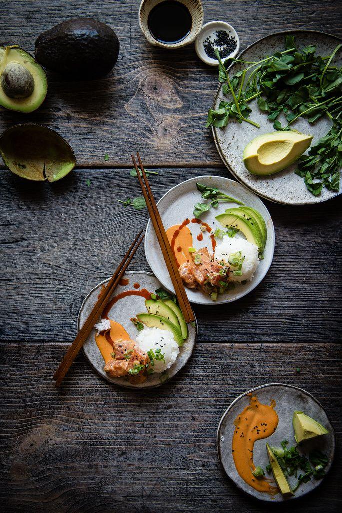 "spicy ahi poke, avocado & rice ""parfaitinis"" | two red bowls"