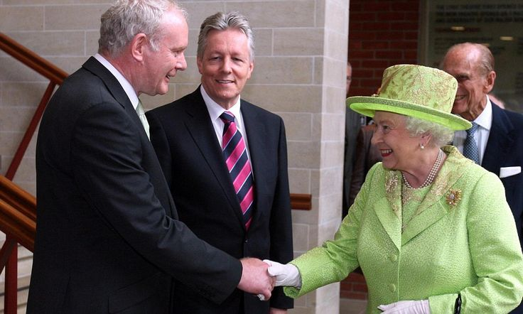 With a handshake, the Queen forgives: She greets Martin McGuinness - the man who headed terror army that murdered her beloved cousin - and even manages a smile