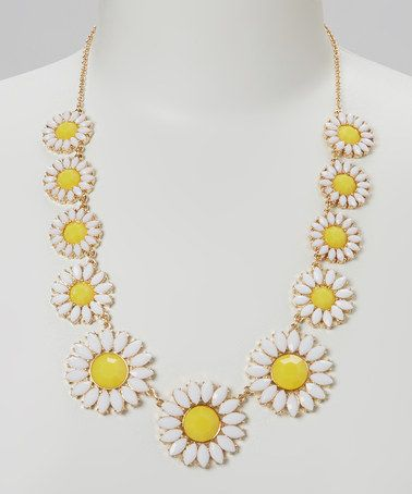 Love this Yellow & White Crystal Daisy Necklace by Sorta Southern Boutique on #zulily! #zulilyfinds