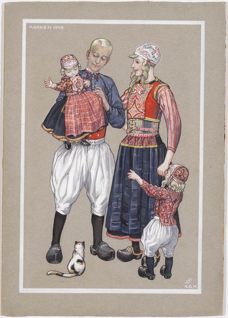 Gouache, gemaakt voor de uitgave van een prentbriefkaart. Marken 1948. Jan Duyvetter. een Marker familiegroep in daagse zomerdracht. Jongetje in kostuum, zoals het gedragen wordt tussen 5 en 7 jaar. #NoordHolland #Marken