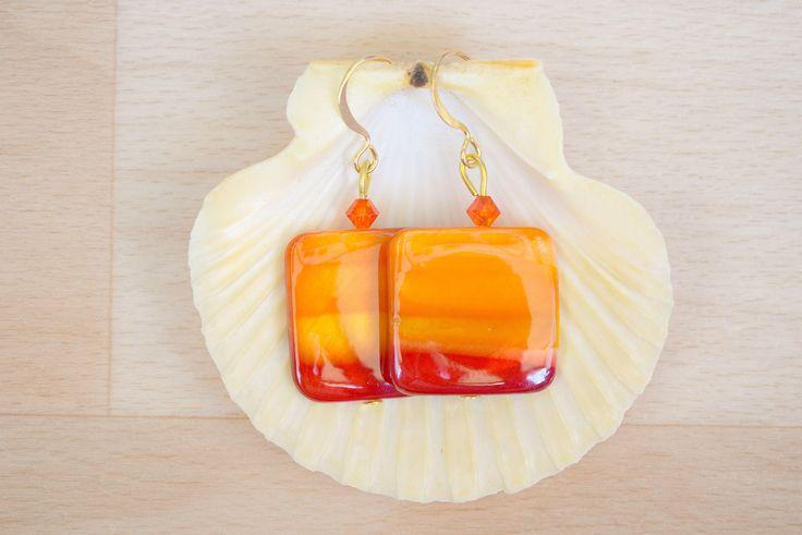 Square Seashell Earrings - Ombre Earrings - Sea Shell Jewelry - Orange-Yellow-Red Earrings - Natural Jewelry - Dangle Earrings by SkadiJewelry on Etsy