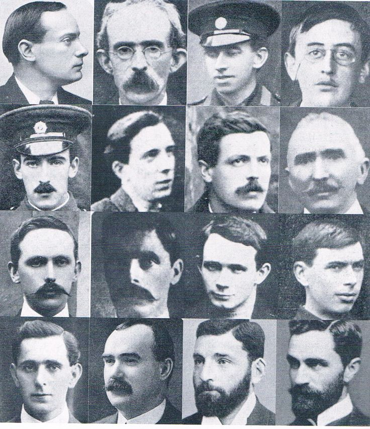 The leaders of the rebellion that were executed. Pictured are (from left to right): P.H Pearse, Thomas Clarke, Thomas MacDonagh, Joseph Plunkett, Edward Daly, William Pearse, Michael O' Hanrahan, John MacBride, Eamonnn Kent, Michael Mallin, Con Colbert, Sean Heuston, Sean MacDermott, James Connolly, Thomas Kent and Roger Casement. Source: Tim Pat Coogan, 1916: The Easter Rising (London, 2001), p. 72.