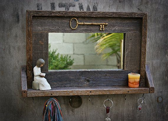 Reclaimed Wood Framed Mirror with small shelf by MyOldFence, $39.00
