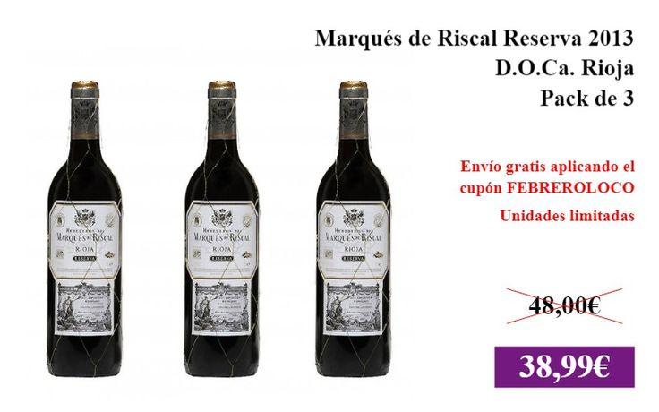 Marqués de Riscal Reserva 2013 (D.O.Ca. Rioja) - Pack de 3  #Alimentacion ✏  #Vino #Alcohol #Tinto #DOCaRioja https://vdg.fun/U