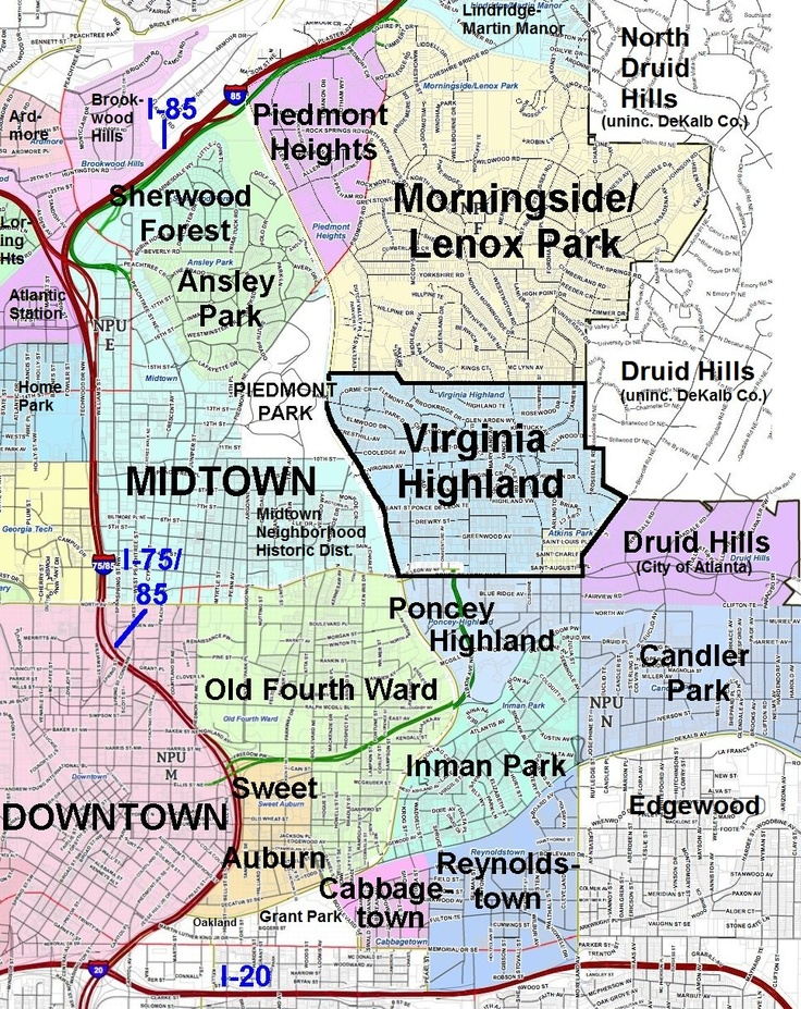 Out Of The Neighborhoods Shown Here Ive Lived In Virginia Highland Morningside And Druid Hills I Also Brookwood