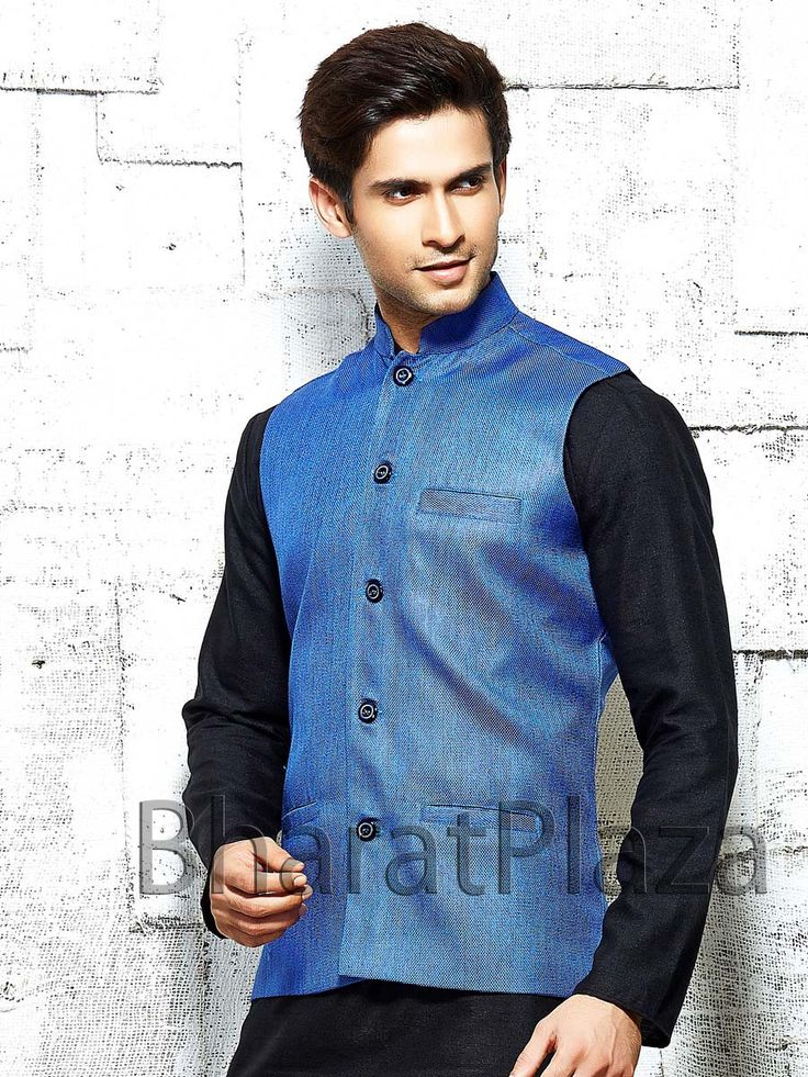 Conspicuous sky blue color jute nehru jacket is designed with high neck collar. Item Code: NJI4001BL
