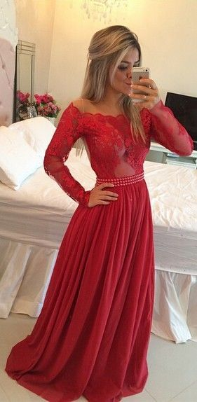 2016 Long Sleeves Prom Dresses Chiffon Pearls Beaded Red Sheer A-line Evening Gowns  www.babyonlinedress.com