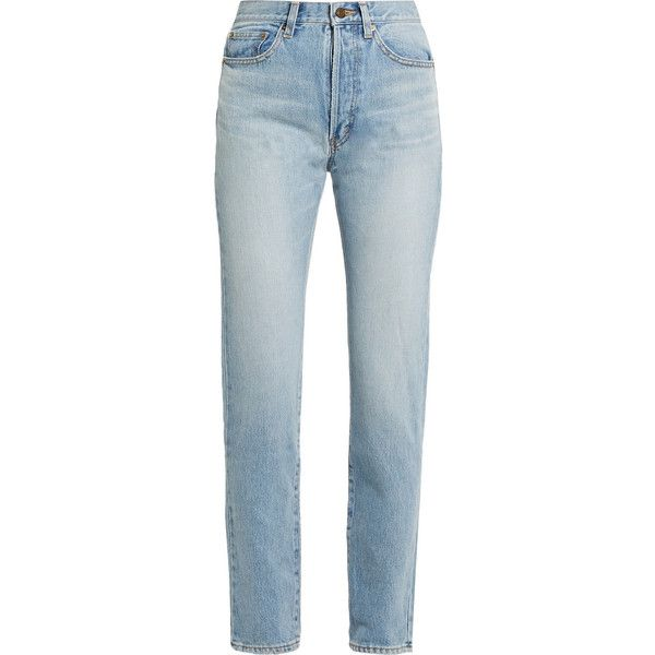 Saint Laurent High-rise straight-leg jeans found on Polyvore featuring jeans, pants, bottoms, calças, trousers, 80s jeans, stretchy high waisted jeans, stretch blue jeans, high waisted jeans and high-waisted jeans