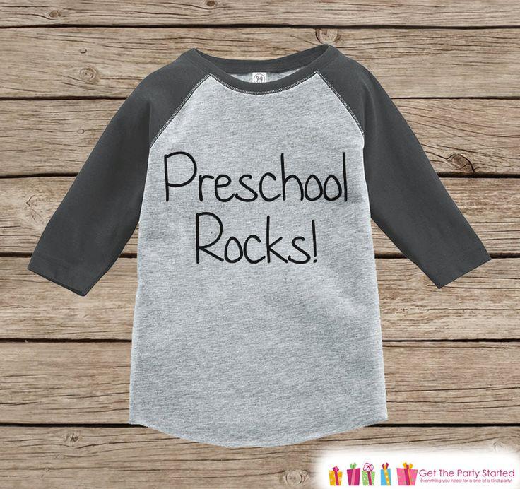 Kids Preschool Rocks Tee - Boys Back to School Outfit - Boys Grey Raglan Preschool Rocks Tshirt - Kids Preschool Shirt - Toddler Top Shirt