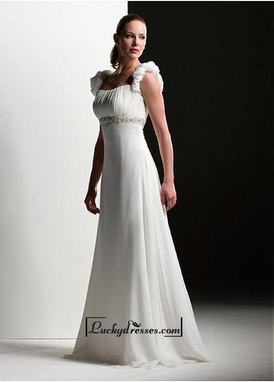 Beautiful Elegant Exquisite A-line Chiffon Wedding Dress In Great Handwork