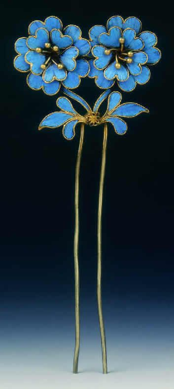 Qing Dynasty kingfisher feather hairpin