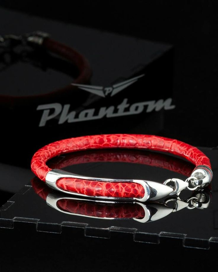 Red Ostrich Leather Bracelet by Phantom.  . #jewelry #leatherbracelet #phantom #ostrichbracelet #silver #handcrafted #beautiful #bracelet #fashion #ostrichleather #luxury #musthave #leather #billionaire #billionairesclub