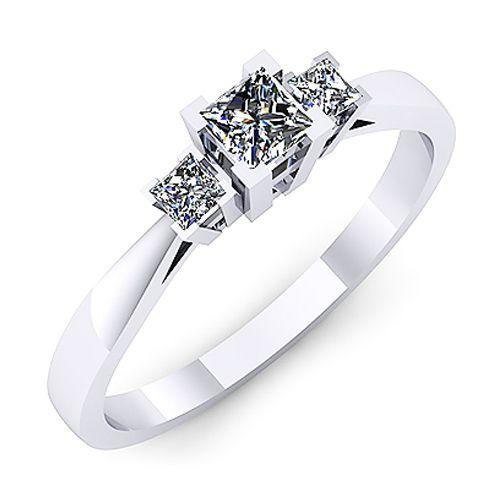 Inel logodna F53ADI INEL DE LOGODNA REALIZAT DIN AUR ALB 14K CU DIAMANT * Piatra principala: diamant patrat 1buc x ~3.00mm - greutate: ~0.20ct * Piatra secundara: diamante patrate 2buc x 2mm - greutate totala: ~0.10ct