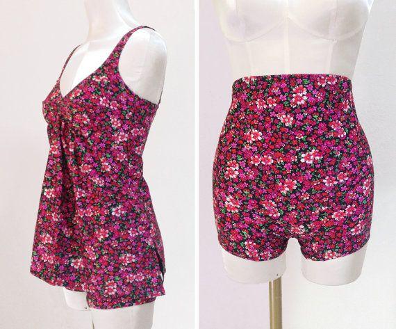 Vintage New 70s swimsuit / mod floral babydoll bathing suit / deadstock two piece romper swimwear / maternity playsuit beach coverup /size S by Skomoroki