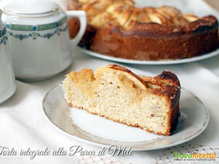 Torta di mele integrale con purea di mele e farina di avena  #ricette #food #recipes