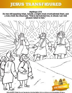 Matthew 17 The Transfiguration Sunday School Coloring Pages Story Of Has