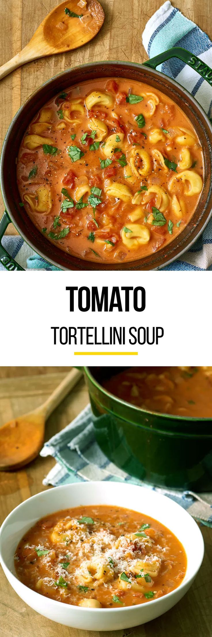 Tomato soup has been, and always will be, a comforting dish. But we've stepped up the comforting soup by making it an easy tomato tortellini soup. This soup recipe is perfect for both meat eaters and vegetarians. This recipe uses unsalted butter, medium onion, garlic, kosher salt, low-sodium vegetable or chicken broth, crushed tomatoes, heavy cream and fresh or frozen tortellini, and Parmesan cheese