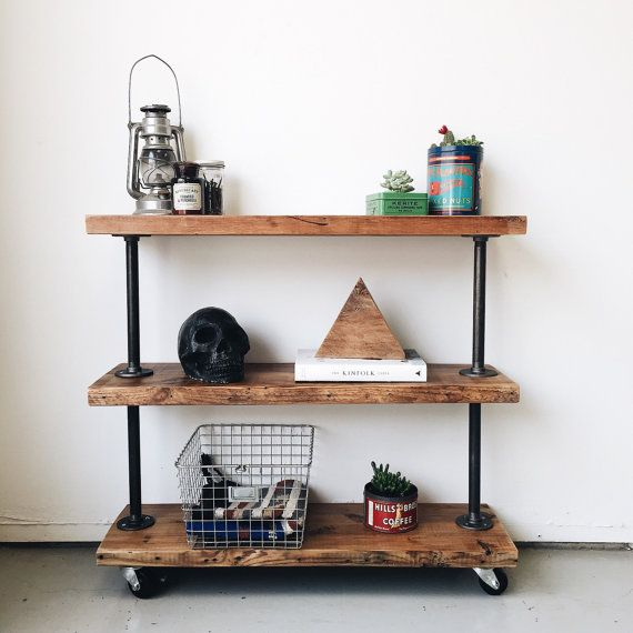 Perfect kitchen cart, console table, media cart or book shelf! Industrial modern utility shelf with 3 shelves made from salvaged wood. The