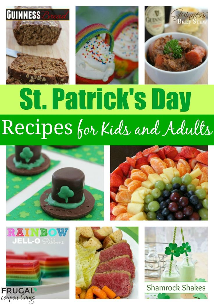 St Patricks Day Food Ideas for Kids and Adults - Breakfast, Lunch, Dinner, Entrees, Snacks and Party Food Ideas. St Patricks Day Ideas. St Patricks Day Recipes. St Patricks Day Kids Food Crafts.