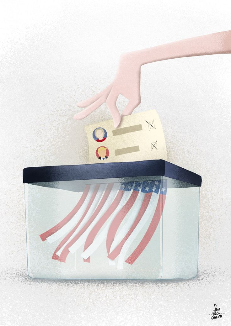 © Sara Gironi Carnevale - The choice between the lesser of two evils - Illustration about US Presidential Elections 2016.