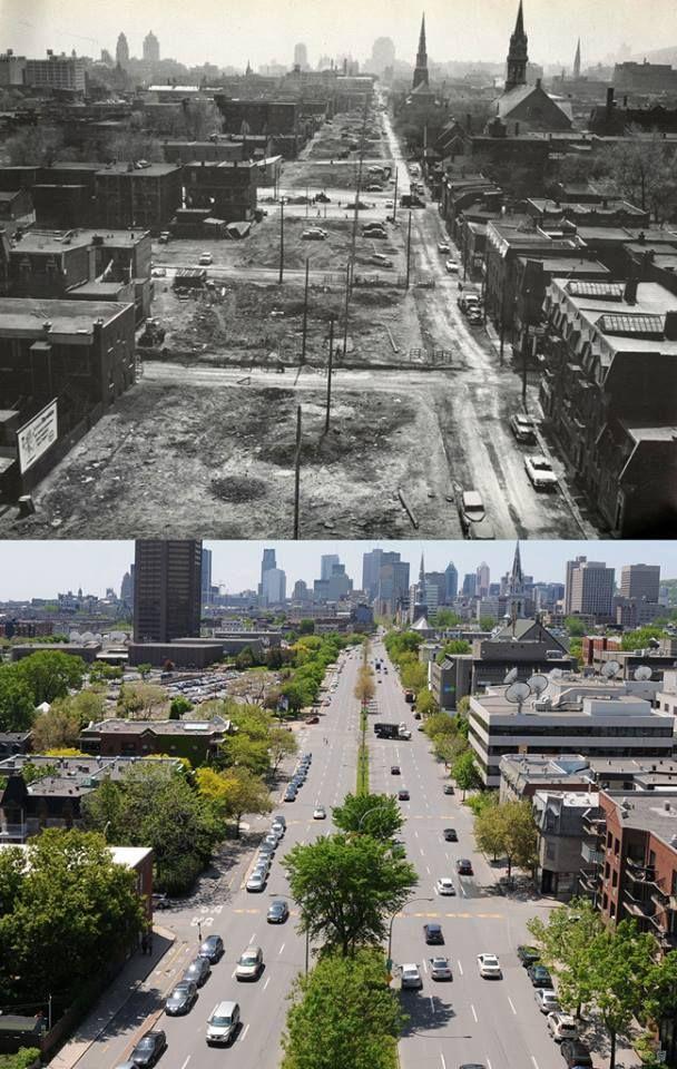 1955-2011 Une vue du boulevard René-Lévesque depuis le pont Jacques-Cartier. La photographie ancienne représente le secteur après la démolition des résidences qui se trouvaient dans le tracé du nouveau boulevard.
