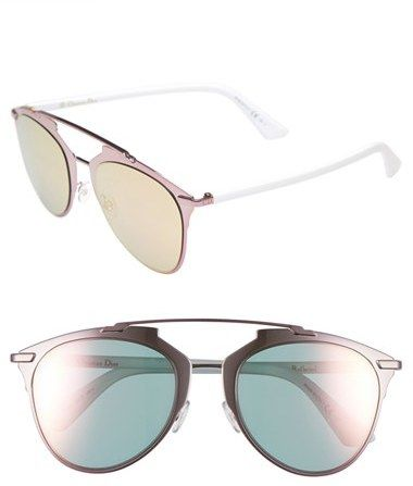 DIOR 'REFLECTED' 52MM SUNGLASSES  $435 by Christian Dior at Nordstrom         Available Colors: Black/ Black Mirror ,Blue/ Black ,Copper Gold/ Blue ,Light Gold/ Black ,Palladium/ White ,Pink/ White Available Sizes: DETAILS Sporty and superchic, these Italian-crafted sunglasses feature a distinctive geometric browline and color-pop nose pads. 52mm lens width, 21mm bridge width, 140mm temple length. 100% UV protection. Nylon lenses. Metal. By Dior; made in Italy