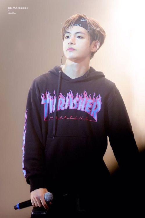 Kim Taehyung Supreme x Thrasher hoodie  fave picture