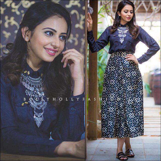 @rakulpreetofficial in @therightcut outfit and @krafftwork_ jewelry  Styled by @neeraja.kona  #RakulPreet #TheRightCut #Tollywood #Bollywood #Fashion #CelebrityStyle