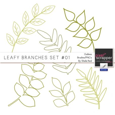 Leafy Branches Set #01 Outlines Brushes/PNG's Kit by Sheila Reid:)