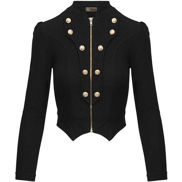 HyBrid Company Women's Military Crop Stretch Gold Zip Up Blazer Jacket ❤ liked on Polyvore featuring outerwear, jackets, blazers, gold blazer jacket, gold blazer, military inspired jacket, military style jacket and stretch blazer